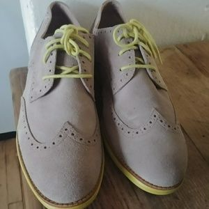 Cole haan taupe and lime laceup oxfords